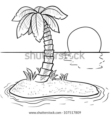 Doodle style tropical or deserted island with palm tree and sunset in vector format. - stock vector