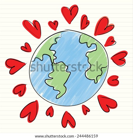 Doodle style Valentine's Day romantic heart with world map  - stock vector