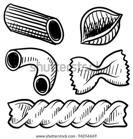 Doodle style vector illustration of various pasta types used in italian cuisine, including macaroni, rigatoni, penne, shells, rotini, and farfalle (bowtie). - stock vector