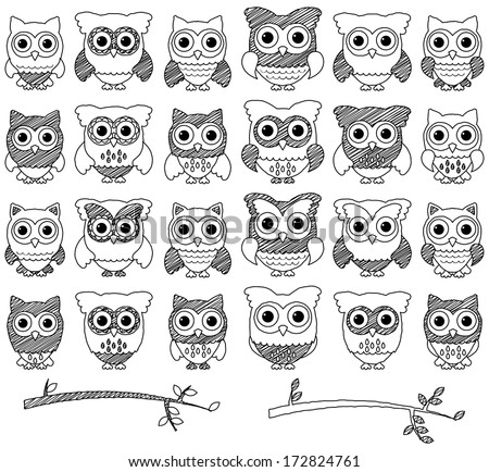 Doodle Style Vector Set of Cute Owls and Branches - stock vector