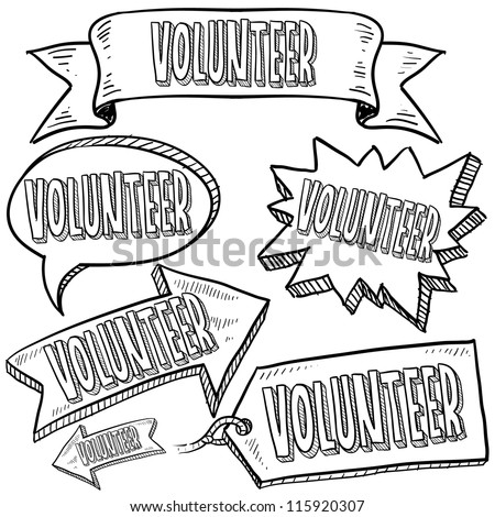 Doodle style Volunteer message tags, labels, banners and arrows in vector format. Can be used as an overlay, as background, or for a sticker effect on web or print materials.