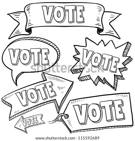 Doodle style vote in the election banners and tags illustration in vector format. - stock vector