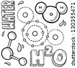 Doodle style water molecule illustration in vector format.  Includes text and molecular model. - stock photo
