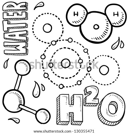 Doodle style water molecule illustration in vector format.  Includes text and molecular model. - stock vector