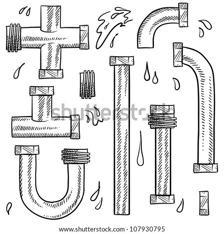 Doodle style water pipes sketch in vector format. Includes various pieces of pipe to make your own design. - stock vector