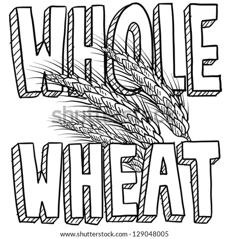 Doodle style whole wheat cereal or grain illustration in vector format.  Includes title text and sheaf of grain. - stock vector