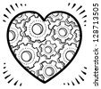 Doodle style workings of the human heart romance or relationship illustration in vector format.  Shows gears inside a Valentine's Day icon. - stock vector