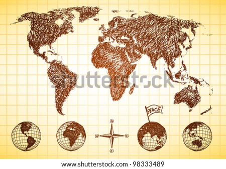 Doodle style world map with 4 views of the globe and compass - stock vector
