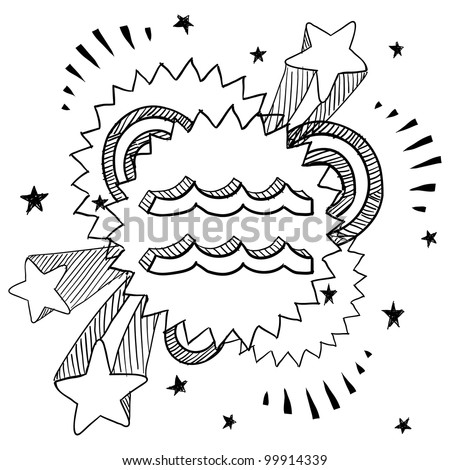 Doodle style zodiac astrology symbol on 1960s or 1970s pop explosion background - Aquarius - stock vector