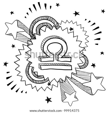 Doodle style zodiac astrology symbol on 1960s or 1970s pop explosion background - Libra - stock vector