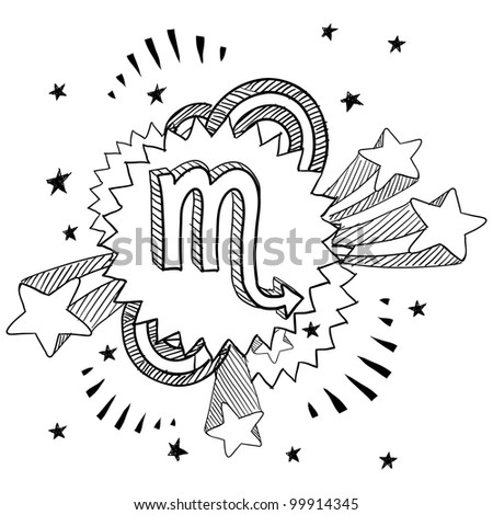 Doodle style zodiac astrology symbol on 1960s or 1970s pop explosion background - Scorpio
