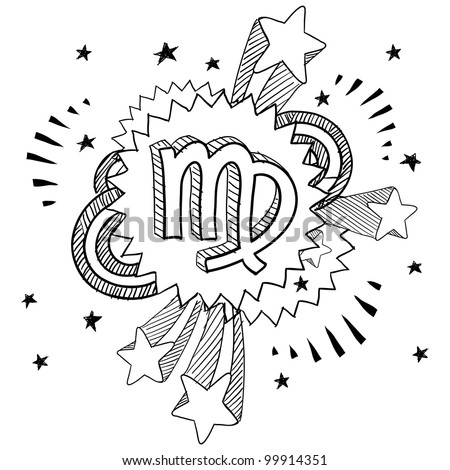 Doodle style zodiac astrology symbol on 1960s or 1970s pop explosion background - Virgo - stock vector