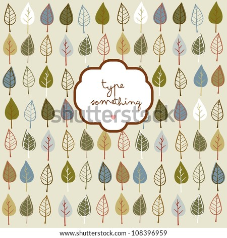 Doodle stylized leaves background with a text frame. - stock vector