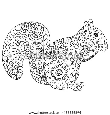 Doodle Stylized Squirrel Sketch Book Poster Stock Photo (Photo ...