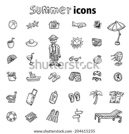 doodle Summer icon, vector illustration.