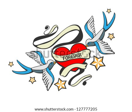 Doodle swallows with heart in tattoo style. - stock vector