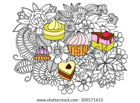 Doodle sweets and flowers. Vector image of a very tasty cakes - stock vector
