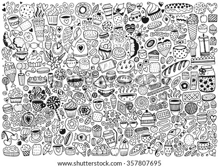 Doodle swith pattern with cupcakes, cakes and tea. Vector background with sweets. Hand drawn sketch illustration. - stock vector