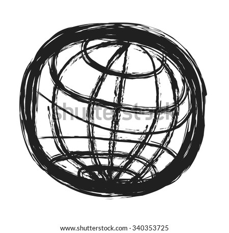 doodle symbol of planet earth, vector illustration - stock vector