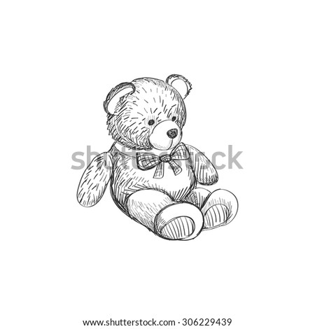Doodle Teddy bear isolated on white background, excellent vector illustration, EPS 10 - stock vector