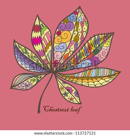 Doodle textured chestnut leaf. - stock vector