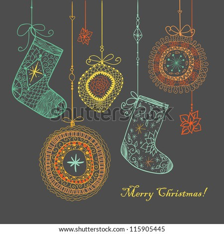 Doodle textured Christmas baubles and socks background. - stock vector