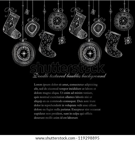 Doodle textured Christmas baubles and socks seamless line. - stock vector