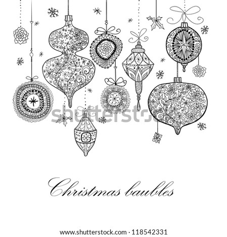 Doodle textured Christmas baubles background.