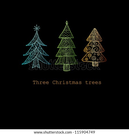 Doodle textured Christmas trees-baubles background. - stock vector