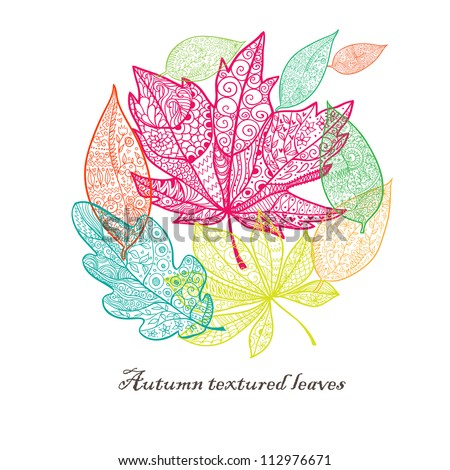 Doodle textured colorful leaves background. - stock vector