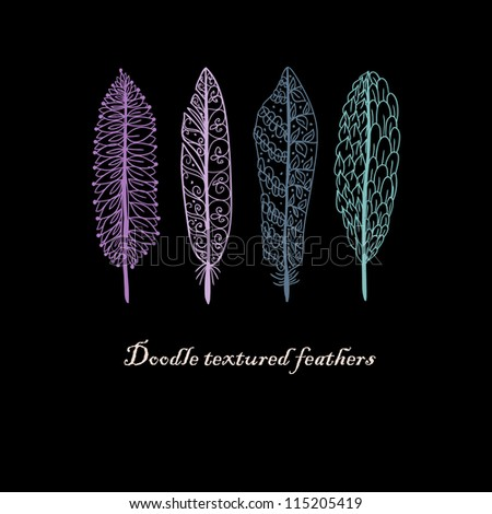 Doodle textured feathers background. - stock vector