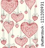 Doodle textured hearts seamless pattern. - stock vector