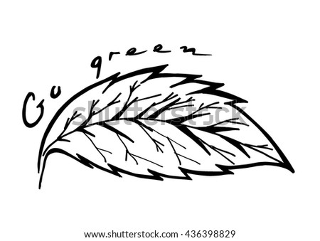 Doodle textured leaf background. Hand drawing illustration Go Green - stock vector