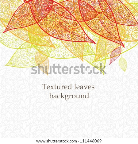 Doodle textured leaves background. - stock vector