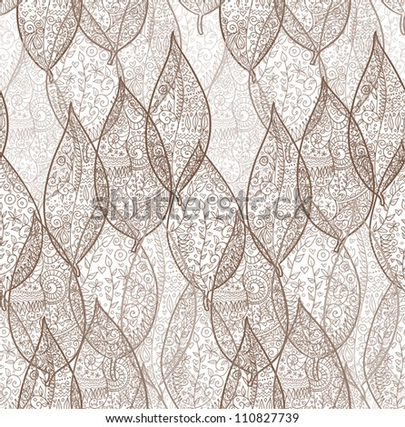 Doodle textured leaves seamless pattern. - stock vector