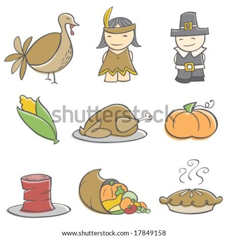 Doodle Thanksgiving Elements - stock vector