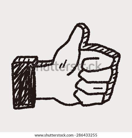 Doodle Thumbs up - stock vector