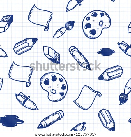 Doodle tools: pen, pencil, brush, eraser, palette etc. seamless pattern - stock vector