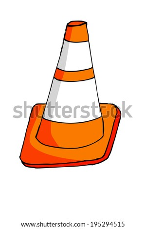 Doodle Traffic Cone - stock vector