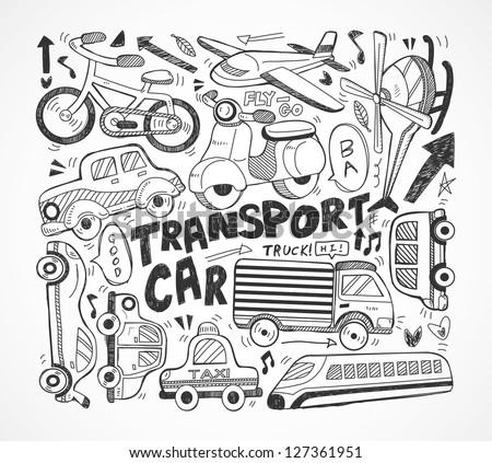 doodle transport element - stock vector