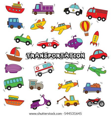 Doodle Transportation Design Vector.
