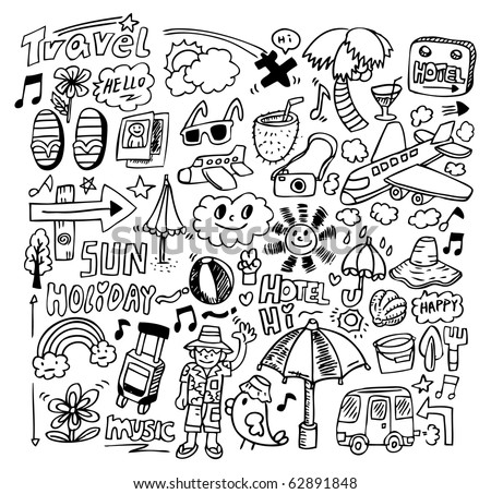 doodle travel - stock vector