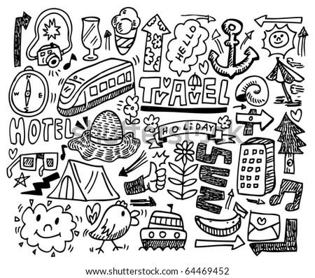 doodle travel - stock vector