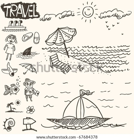 doodle - travel - stock vector