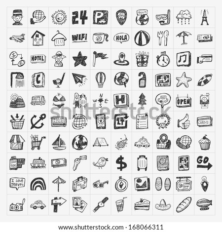 doodle travel icons set - stock vector