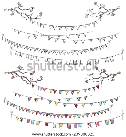 Doodle tree branches and party flags. Garlands. Decorations. Vector illustration. - stock vector