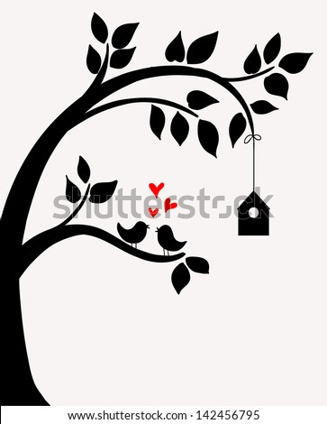 Doodle tree with birds in love and nesting box. - stock vector