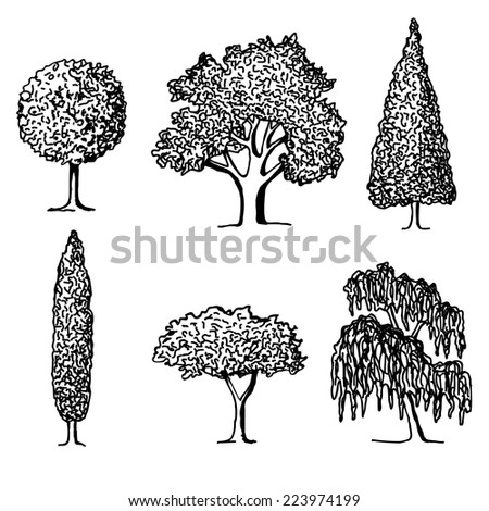 Doodle trees in silhouettes. Vector illustration. - stock vector