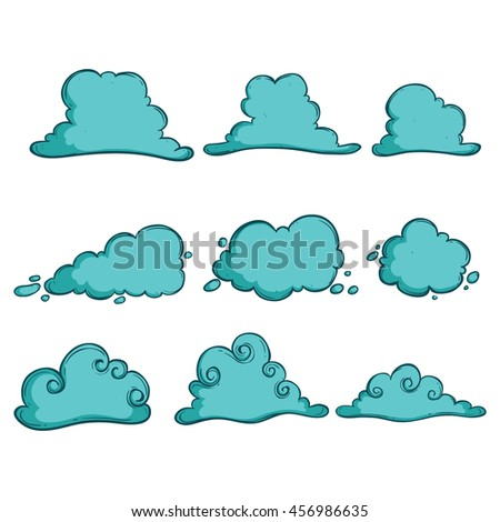 Doodle turquoise clouds set on white background - stock vector
