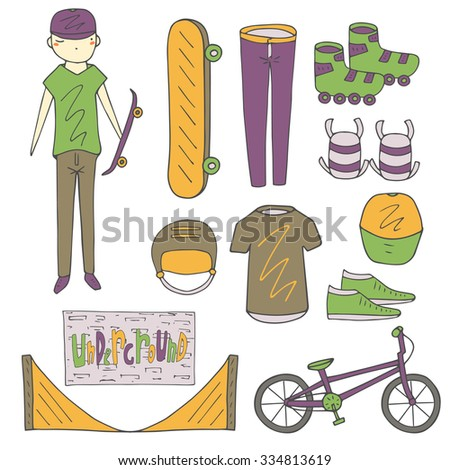 Doodle underground culture teenage objects set including skateboard, skates, sneakers, t shirt, jeans, helmet, knees protect, teenage boy, trampoline for skateboarding, brick wall with graffiti